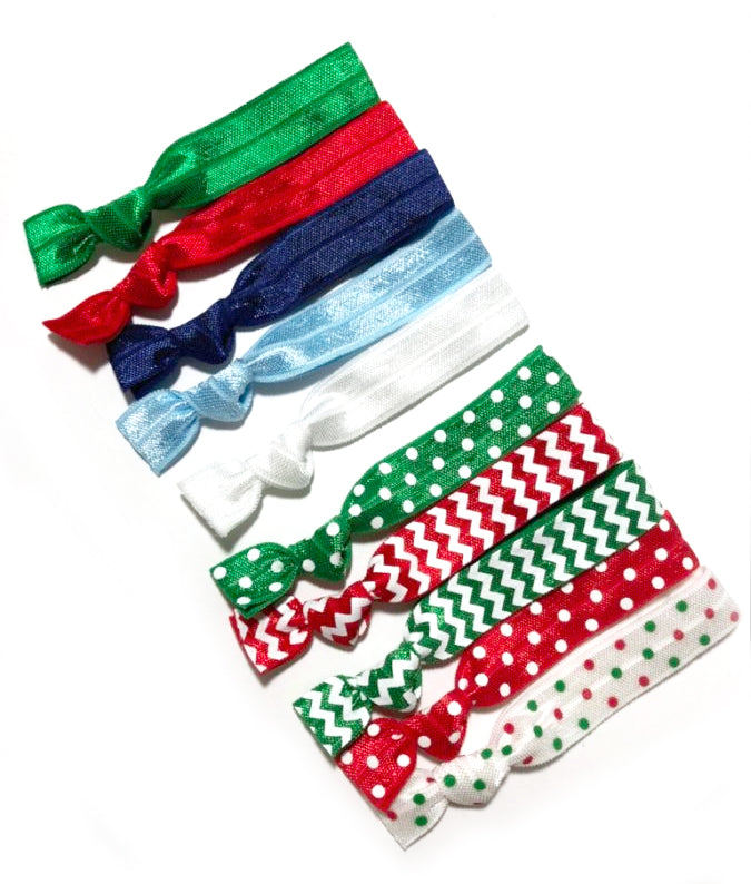 Elastic Hair Ties Set of 10 - Christmas Gift, Secret Santa and Stocking Stuffer Ideas