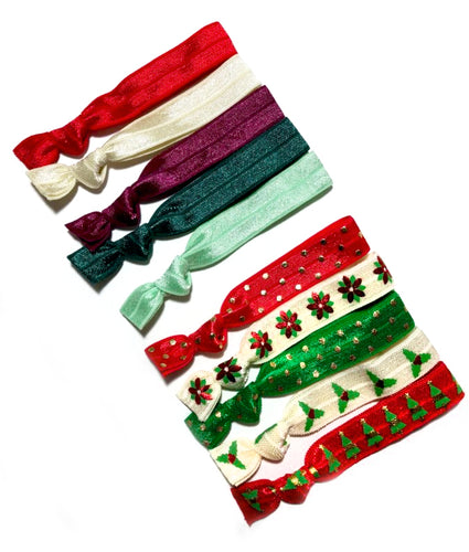 Shop Small Holiday Sale | Christmas Elastic Hair Ties Set - Christmas Gift under 10 Secret Santa and Stocking Stuffer Ideas