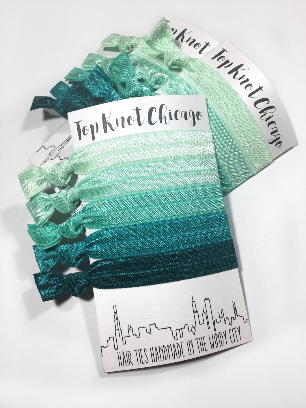 Green Ombre Package - Set of 5 Elastic Hair Bands - Hair Ties - Top Knot Chicago