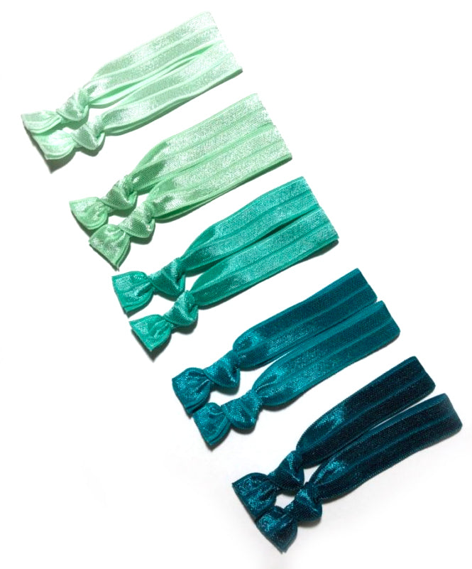 Green Ombre Hair Ties | Set of 10 Ponytail Elastic Holders
