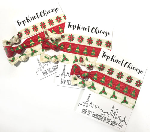 Holiday Hair Elastics - Wreath, Holly and Christmas Tree Hair Ties | Stocking Stuffer Hair Accessories