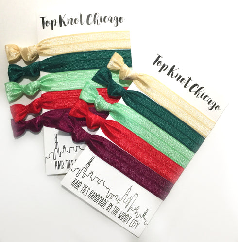 Stocking Stuffer Hair Ties - Holiday Hair Elastics | Christmas Cheer Package