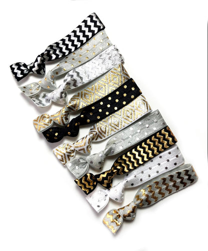 Metallic Pattern Ponytail Holder Variety Pack | Set of 10 Hair Bands