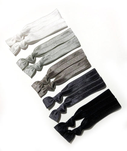 Gray Ombre Hair Bands | Set of 10 Ponytail Elastics