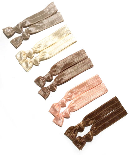 Light Neutral Elastic Hair Ties | Set of 10 Ponytail Holders - Blonde Hair Bands