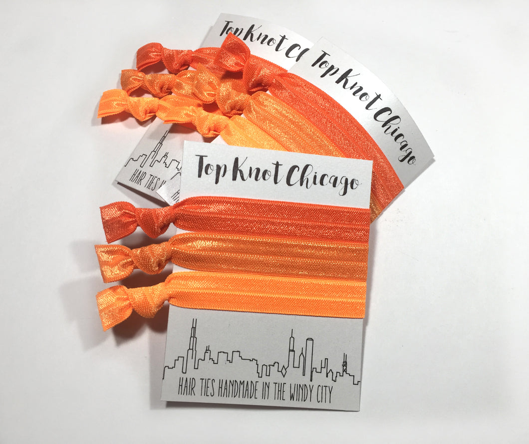 Orange Ombre Package - Set of 3 Elastic Hair Ties -  - Top Knot Chicago