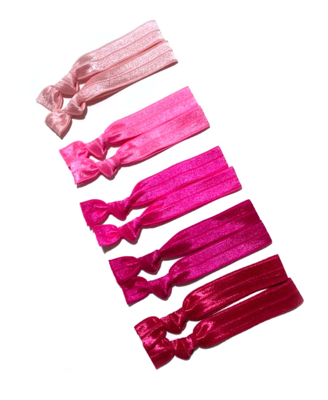 Pink Ombre Ponytail Holders | Set of 10 Hair Tie Bands