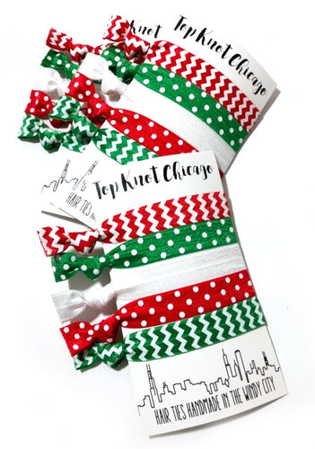 Sale! Christmas Hair Ties Polka Dots and Chevron Package Set of 5