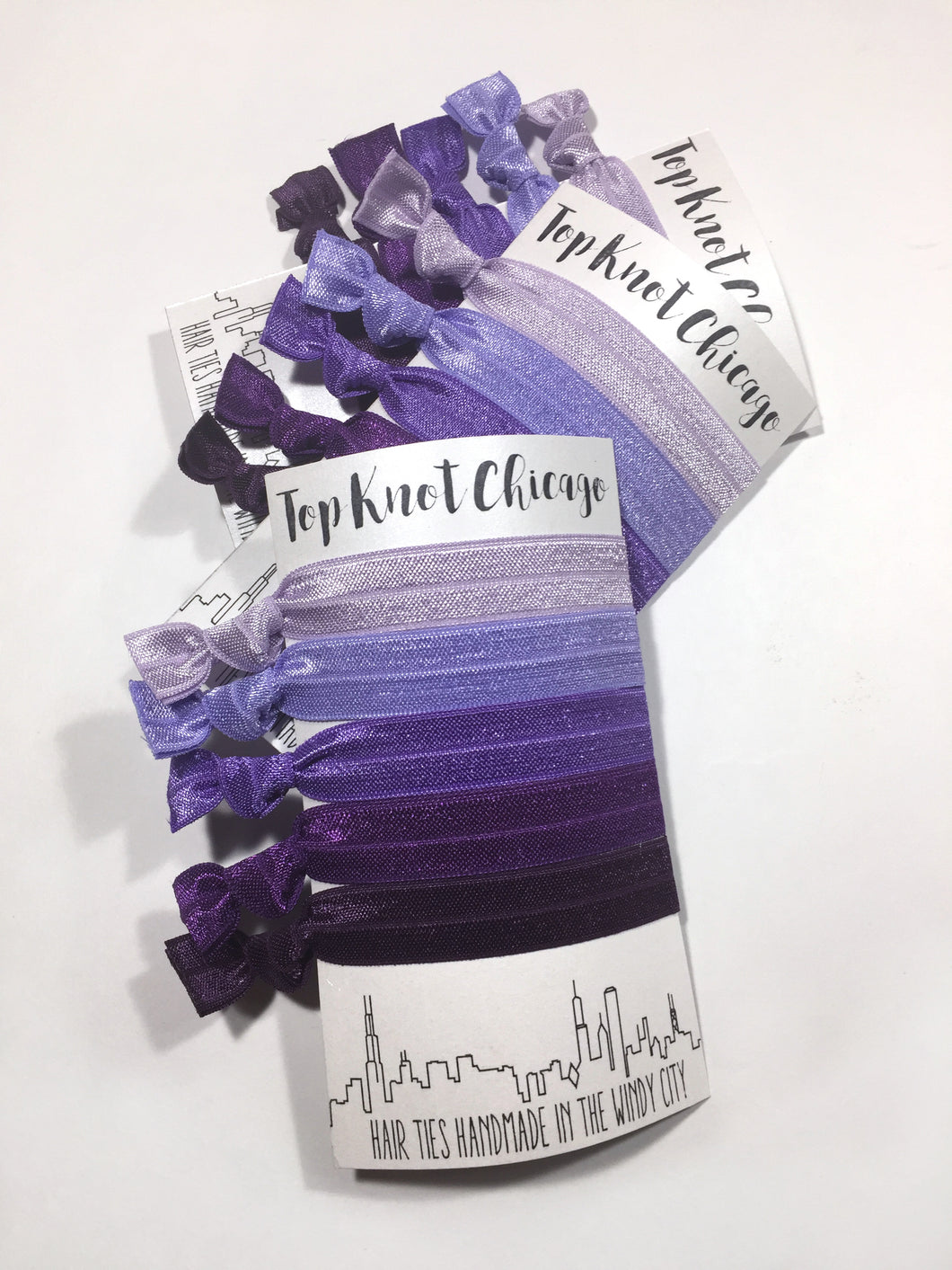 Purple Ombre Package - Set of 5 Elastic Hair Ties - Hair Ties - Top Knot Chicago