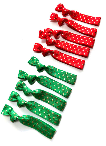 Shop Small Holiday Sale | Christmas Gold Polka Dot Hair Ties Set of 10 - Christmas Hair Accessories | Small Gift Ideas
