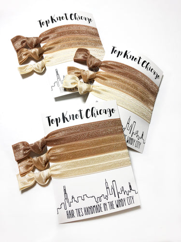 Blonde Ombre Hair Elastic Ponytail Holders | Set of 3 Light Neutral Hair Ties