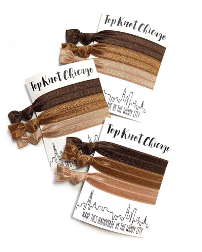 Brown Elastic Hair Ties | Brunette Ombre Ponytail Holders