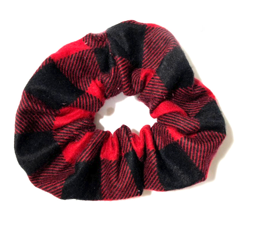 Red Buffalo Plaid Holiday Scrunchie | Christmas Hair Accessory