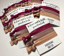 To Have and to Hold Your Hair Back Bachelorette Hair Tie Party Favors - Set of 3 Hair Elastics on a Personalized Card