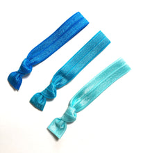 Light Blue Ombre Hair Ties - Set of 3 Elastic Hair Ties - Wholesale