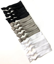 Monochrome 15 Pack of Ponytail Holders | Black, Gray and White Hair Ties