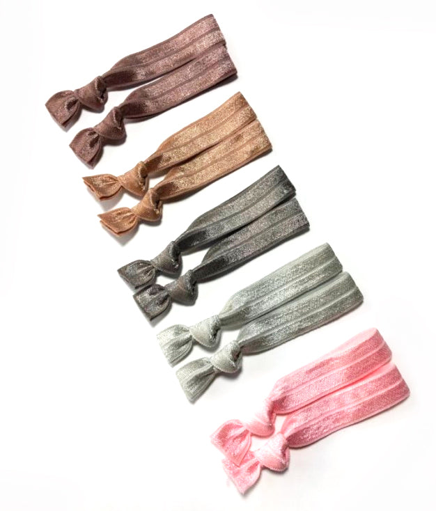Posh Package of 10 Elastic Hair Ties | Neutral Set of Hair Elastics