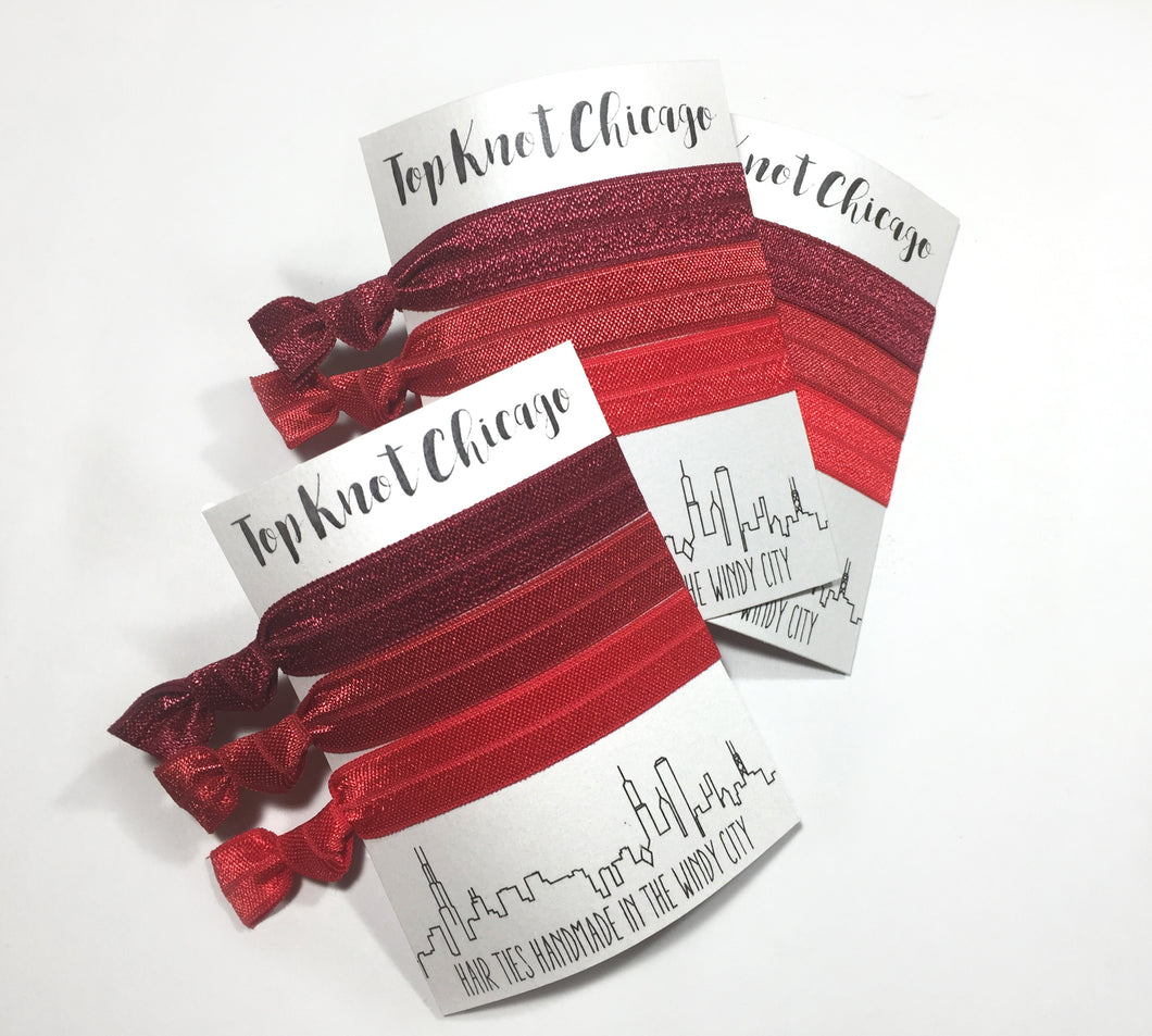 Red Ombre Package - Set of 3 Hair Elastics - Hair Ties - Top Knot Chicago