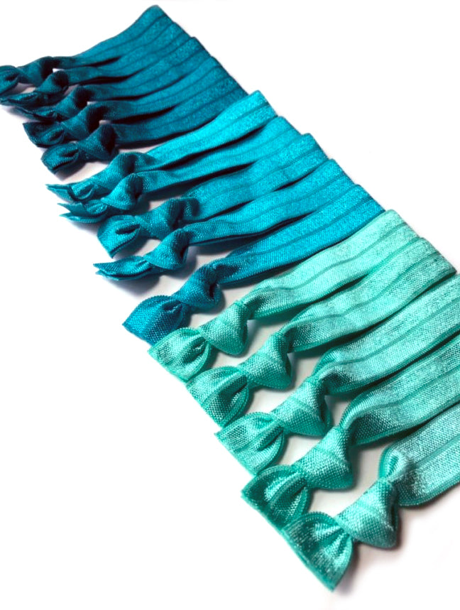 Teal Ombre Elastic Hair Bands | Set of 15