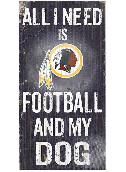 Redskins 6''x12'' Football & My Dog Sign