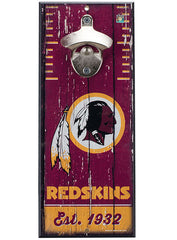 Redskins 5'' x 12'' Bottle Opener Wood Sign