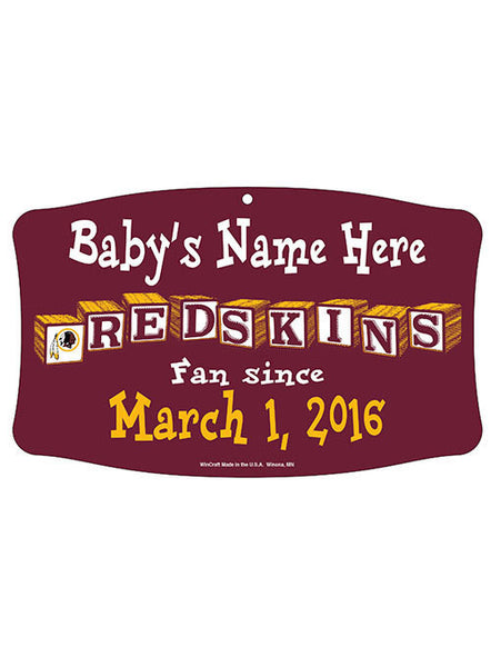 Redskins Personalized ''Baby Name and Birthday'' Sign