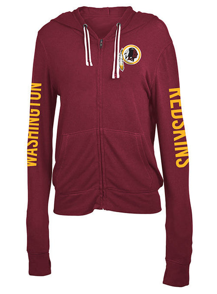 Ladies Redskins Full Zip Hooded Sleeve Hit Sweatshirt