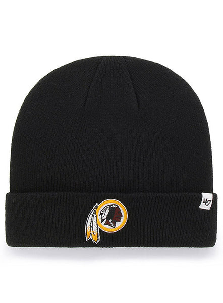 47 Brand Redskins Black Raised Cuff Knit Hat
