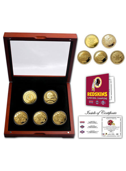 Redskins 3-Time Super Bowl Champions 5 Coin Gold Coin Set