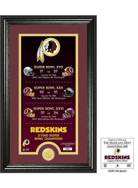 Redskins Legacy Bronze Coin Photo Mint