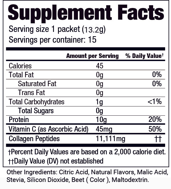 Collagen Sticks Supplement Facts