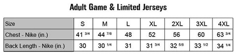 Men's Nike Game & Limited Jersey Size Chart