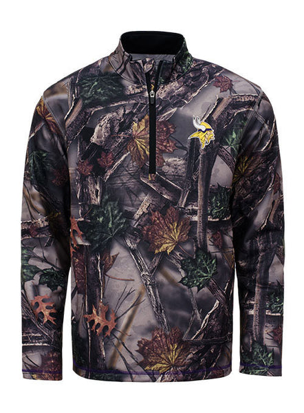 reputable site 2463e 8c251 Majestic Vikings 1/2 Zip Camo Jacket | Men's Vikings Sweatshirts & Jackets  | Vikings Locker Room