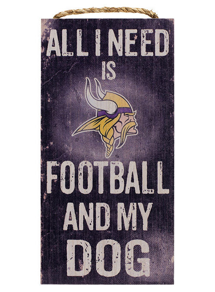 Vikings 6''x12'' Football & My Dog Sign