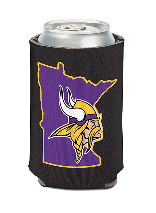 Vikings State Outline Black Can Cooler