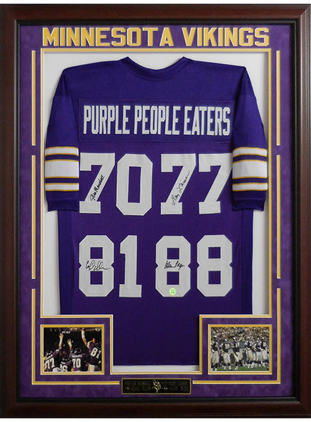 Vikings Purple People Eaters Framed Autographed Jersey