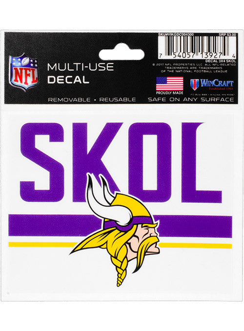 "Vikings 3"" x 4"" SKOL Decal"
