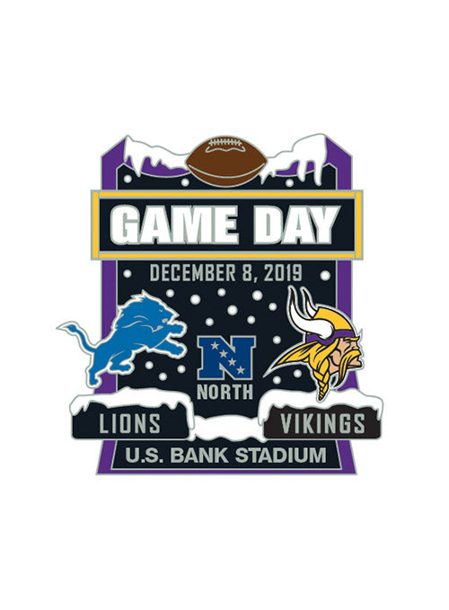 2019 Vikings vs. Lions Gameday Hatpin