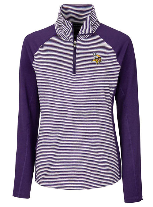 Ladies Cutter & Buck Vikings Forge Tonal Stripe 1/2 Zip Jacket