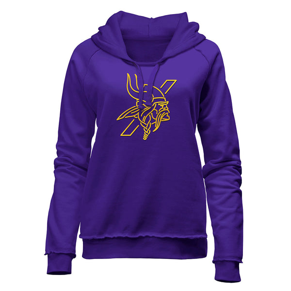 Vikings Ladies New Era Primetime Purple Norseman Hooded Sweatshirt