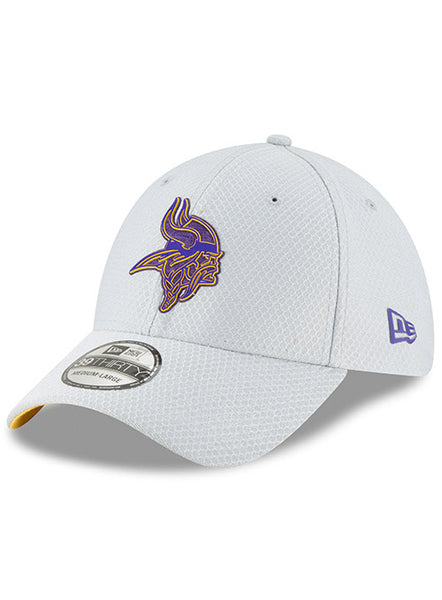 404a30f0e78 Men s Grey Minnesota Vikings New Era 2018 Training Camp Official 39THIRTY  Flex Hat