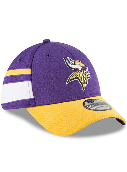 Men s Minnesota Vikings New Era Purple   Gold 2018 NFL Sideline Home  Official 39THIRTY Flex Hat 7a6718e46d9