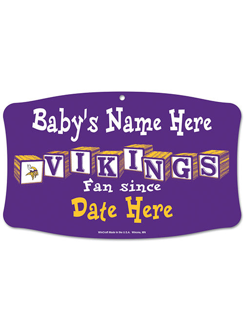Vikings Personalized ''Baby Name and Birthday'' Sign