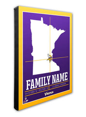 "Vikings 16"" x 20"" Family Name Canvas"