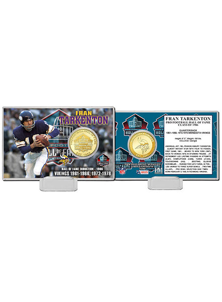Fran Tarkenton Pro Football Hall of Fame Bronze Coin Card