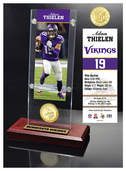 Adam Thielen Ticket & Bronze Coin Acrylic Desk Top