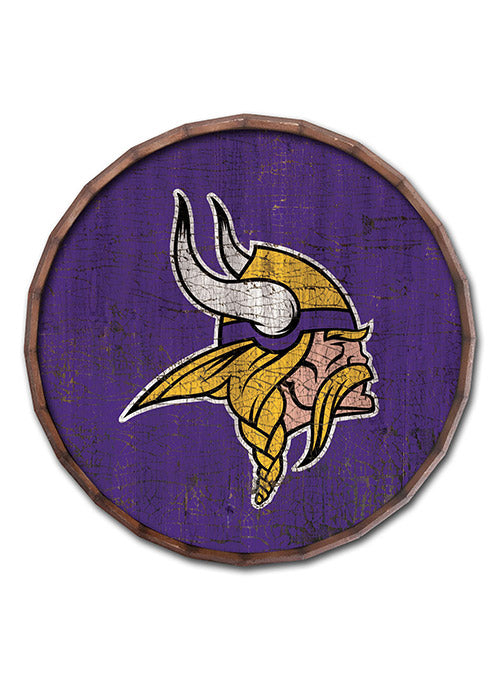 "Vikings 24"" Cracked Color Barrel Top Sign"
