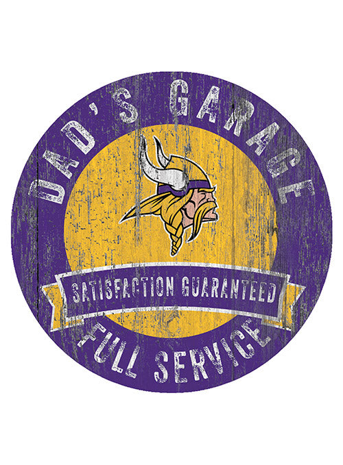 "Vikings 12"" x 12"" Dad's Garage Sign"