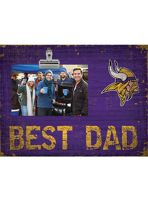 "Vikings 10.5"" x 8"" Best Dad Clip Frame"