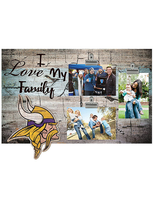 "Vikings 11"" x 19"" I Love My Family Clip Frame"